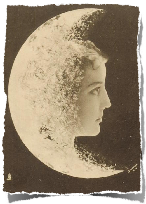 Woman's face to right of moon - Postcard - Licensed under CC BY-SA Tuckdb Postcards http://tuckdb.org/postcards/90522