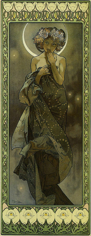 Clair de Luna Alfons Mucha [Public domain], via Wikimedia Commons